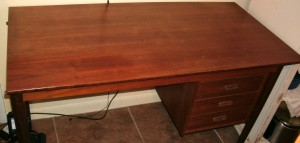 late 1960s cherry wood desk with damages top