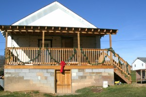 """with help we were able to repair the back porch that was 4"""" off level from front to back"""