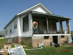 Tom spent most of last year working on this old house the porch/ sunroom was the worst of the repairs that need to be done