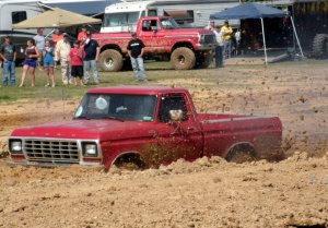 Ford truck stuck in the mudd