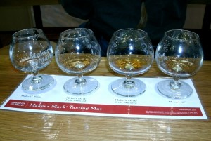 tasting glasses full from left to right.. Moonshine( whitedog) Maker's mark , over aged bourbon. Maker's Mark 46