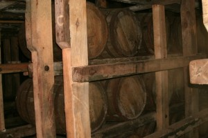 racks of aging barrels of Maker's Mark bourbon