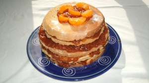 old fahion stack cake.. appircote and orange