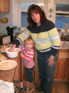 Grandbaby Paige and I making dinner for the crrew