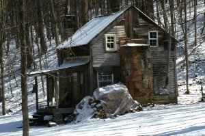snowy hunting shack