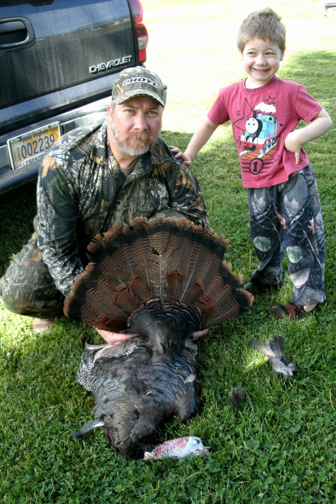 Tom and Christopher with2013 years first wild turkey