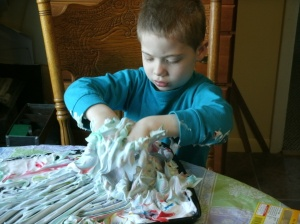 christopher dyeing easter eggs with shaving cream and food color