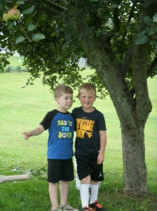 the boys apple picking Christopher and Caden