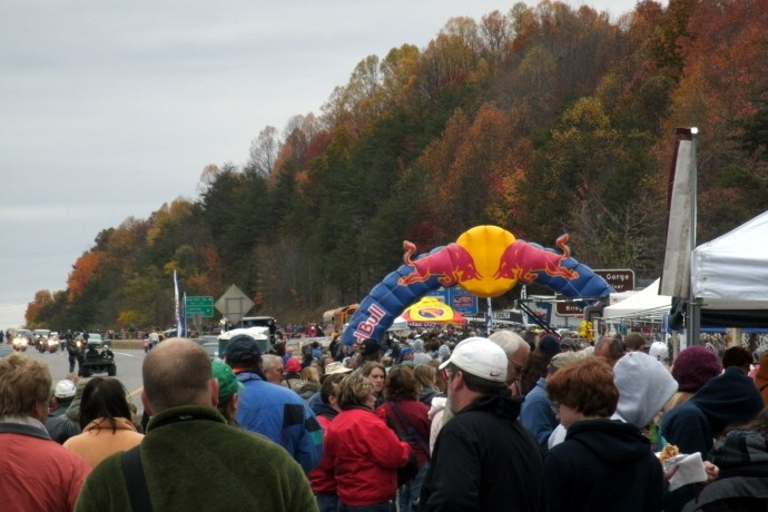 crowds at the entrance of the Bridge Day