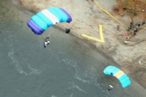 two BASE Jumpers floating in the air at BridgeDay, Fayetteville,WV