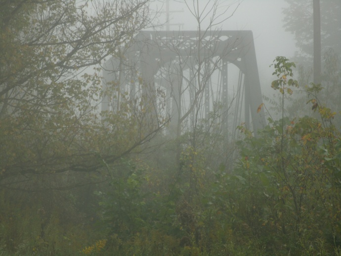 Iron train bridge in Foggy West Virginia