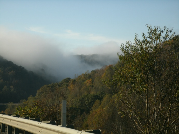view of fog in mountains at Burnsvill West Virginia