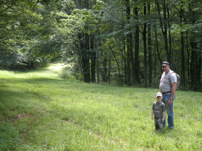 Tom and Christopher mushroom hunting in Jane Lew , Wv