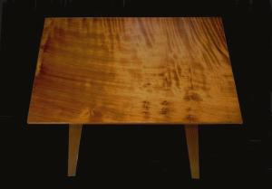 top of reclaimed redwood end table