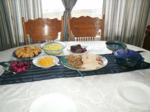 thanks giving table with food 2013