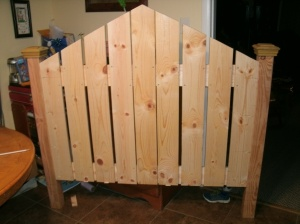 headboard in progress pine picket fence style