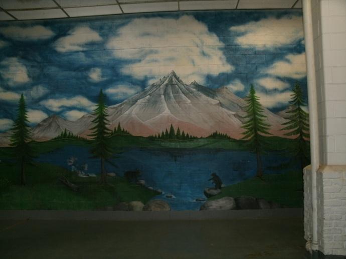 prisoner art work inside family meeting area of Moundsvill state Penitentiary, Moundsville, West Virginia