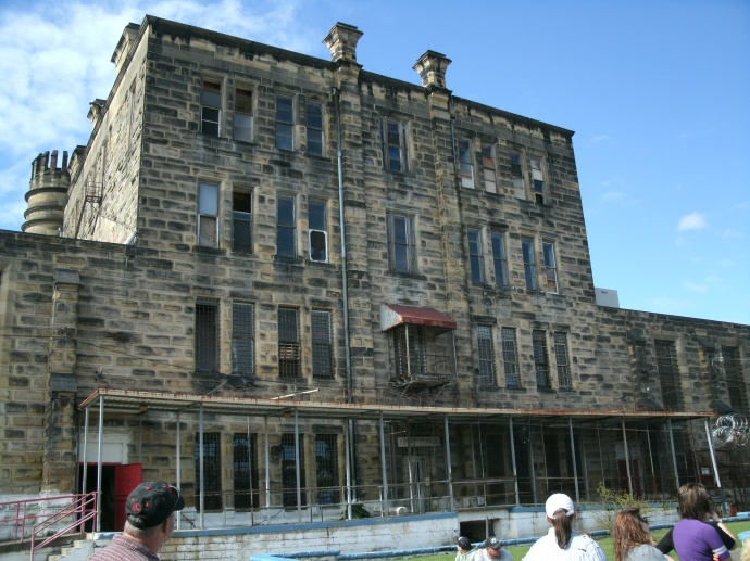 back of main gate, home of wardon and family, administration building. Moundsvill State Penitentiary, Moundsville West Virginia