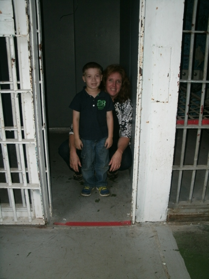Christopher and I hanging out in a padded cell at Moundsville state Penitentiary