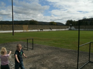 "Christopher and Paige playing in the large ""yard"" at the prison"