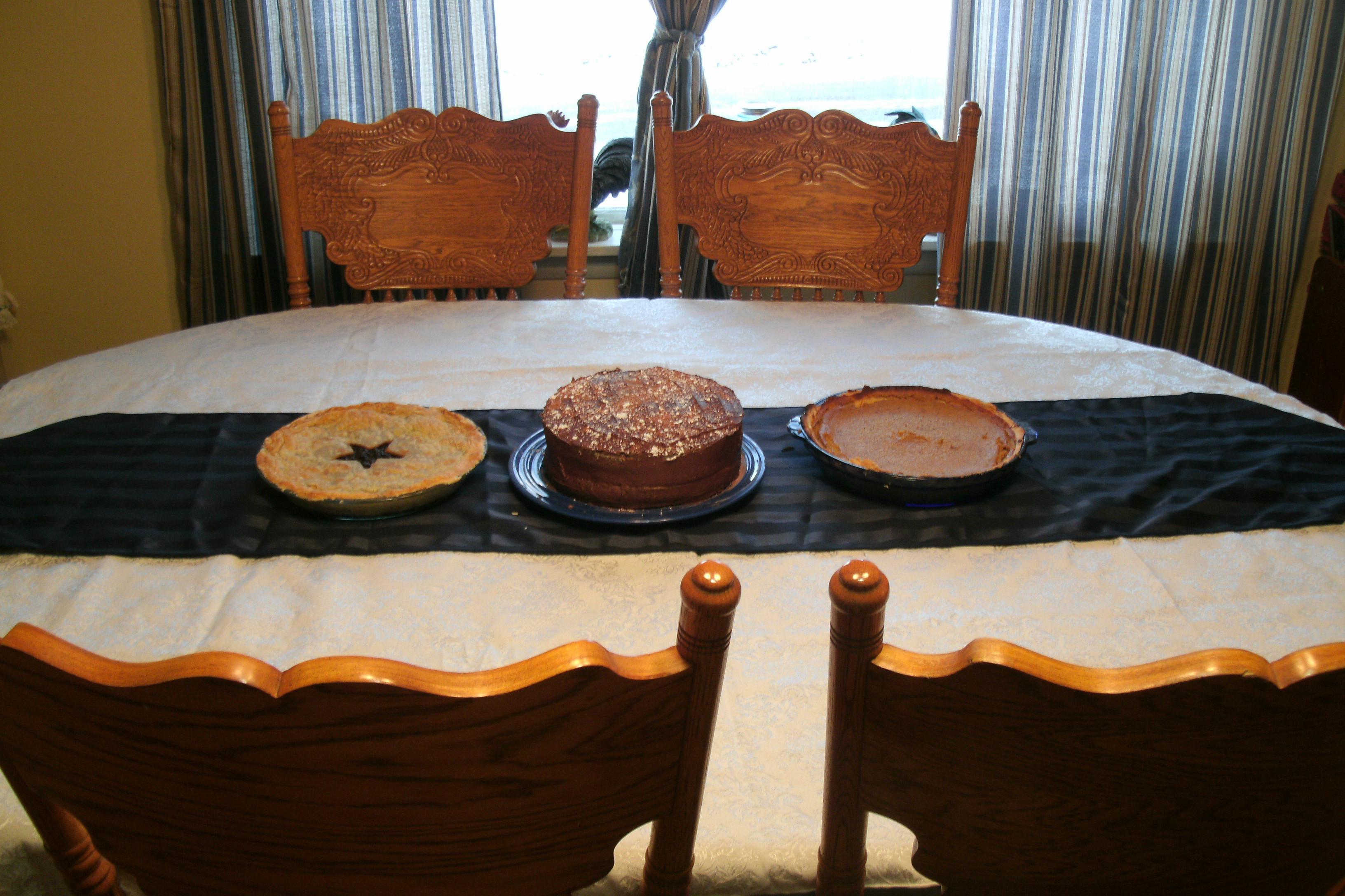 mock mincemeat, pumpkin pie and chocolate cake