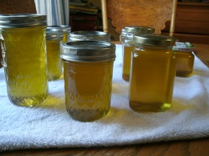 Apple jelly in jars