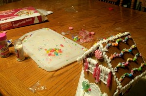 mess left after decorating ginger bread house