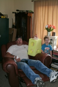 Tom the day after arm surgery aug 2012