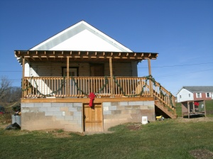 the new back porch Tom built on the old house last year