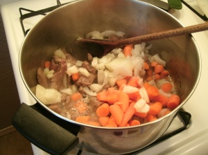 carrots, onion, and venison