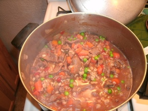 Venison Barley Soup simmering on stove