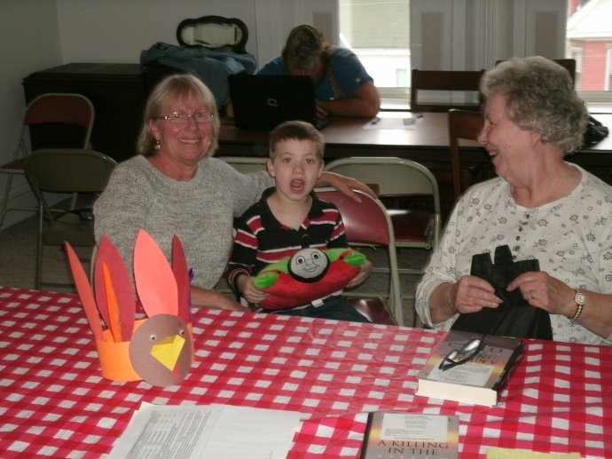 Janice, Sandy and Christopher at our Thanksgiving Book club meeting