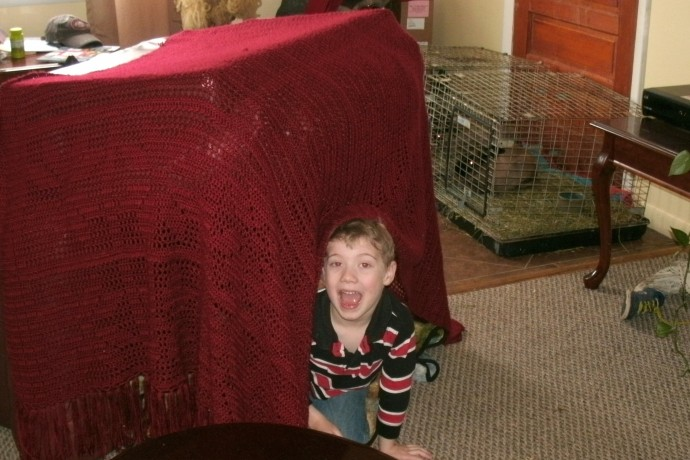 Afghan Fort with Christopher and the bunnies in the house