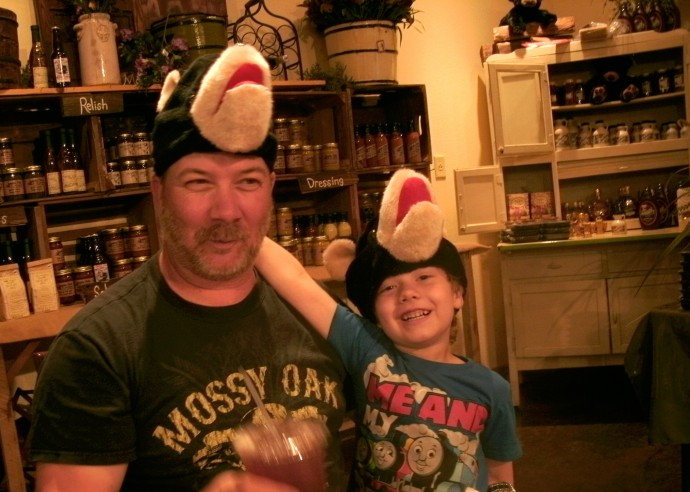 Tom and Christopher wearing the big bear hats just being silly