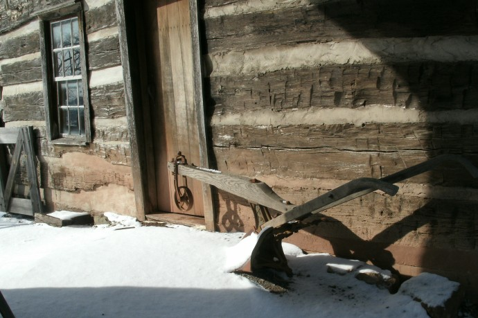 Snow on the plow at General Stone Wall Jackson's home place Jackson Mill, West Virginia