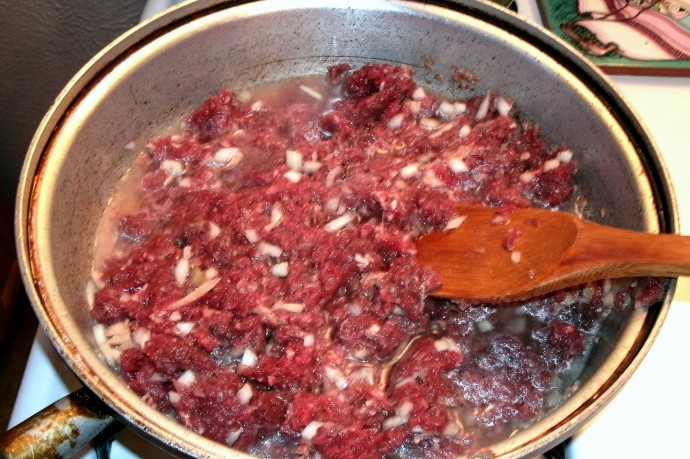 Ground venison with onions and water