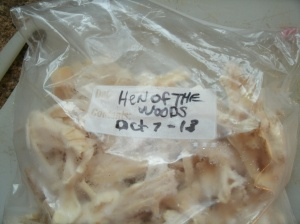 bag of frozen Hen of the Woods mushrooms