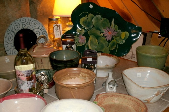 some of the hand made pottery at Lambert's vintage wines