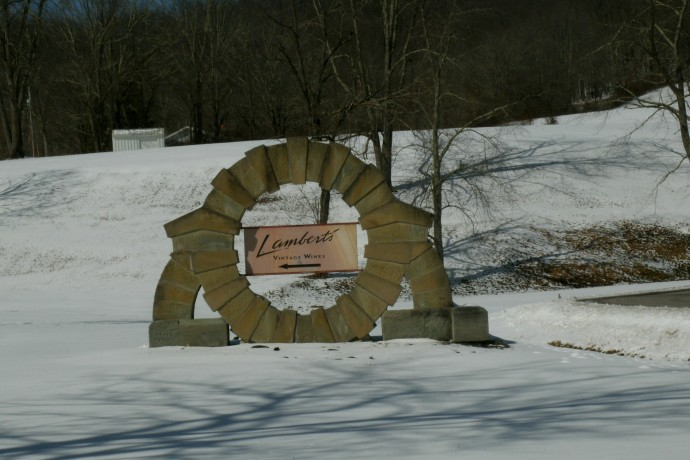 Stone entry sign at Lambert's vintage winery, Weston, West Virginia