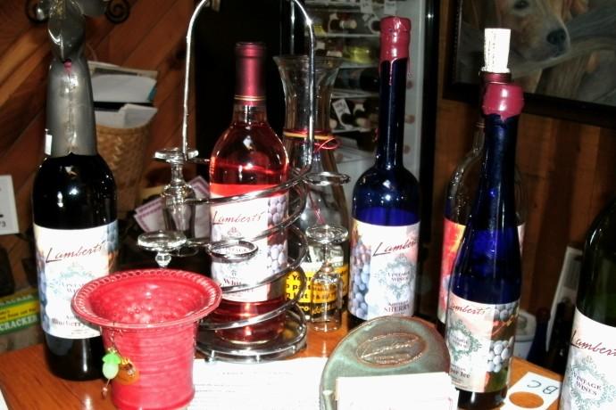 bottles on bar at Lambert's winery