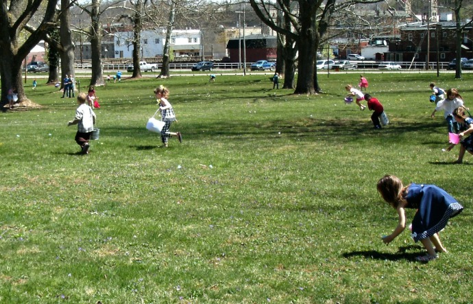 Easter Egg hunters on the Lawn of the Trans Allegheny Lunatic Asylum