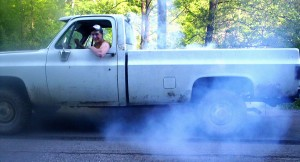 Cody smoken the tires in one of his first trucks age 17