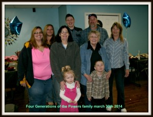Powers family photo, 4 generations of the family of Thomas E Powers and Wanda G Powers