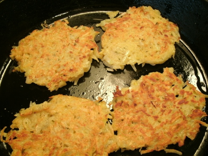 German Potato Pancakes frying to a golden brown