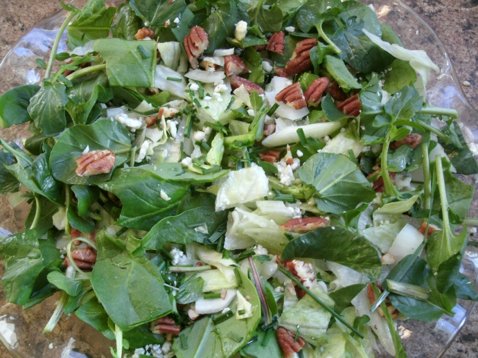 Ramp Watercress and Pecan salad