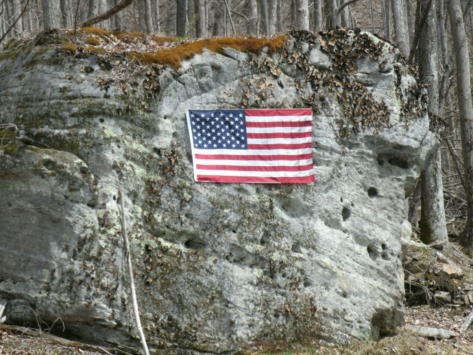 Rock with american Flag, Hacker Valley, West Virginia