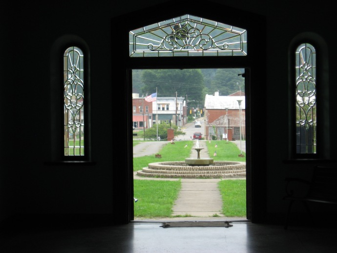 view of the fountain from inside the entry of the Trans Allegheny Lunatic Assylum