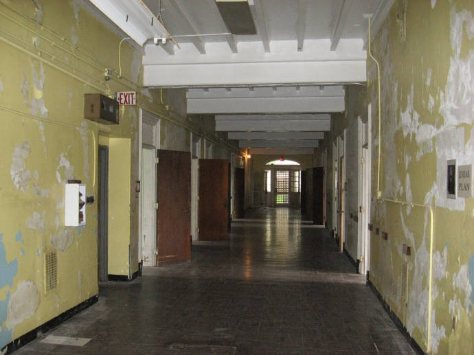 Main hall way to the west  at the Trans Allegheny Lunatic Asylum