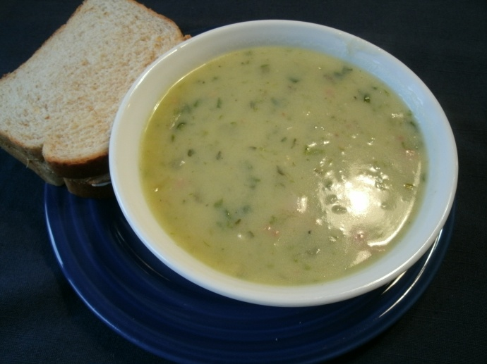 Cream of Potato Ramp and Ham soupe