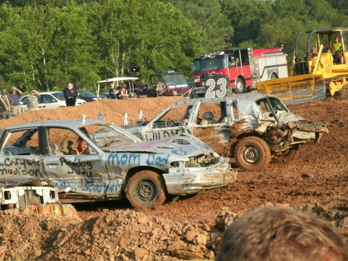 cars racing at the demolishen derby
